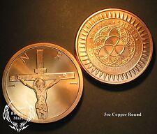 """5 oz """"Crucifixion"""" Silver Shield Design Copper Round Bullion"""