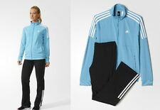 new ADIDAS womens FRIEDA TRACKSUIT sz L blue black jacket + pants track suit set