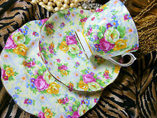 ROYAL ALBERT TEA CUP AND SAUCER TRIO ROSE AND FLORAL CHINTZ PATTERN GOLD