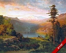 NATIVE AMERICAN INDIANS IN CALIFORNIA LANDSCAPE PAINTING REAL CANVASART PRINT