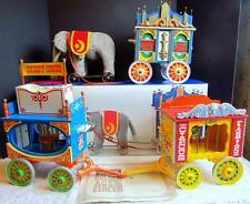 Steiff Limited Ed. Golden Age of Circus Elephant w/ Musical Calliope & 2 Wagons