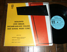Baldwin Wallace College 25th Annual High School Music Clinic 1969 double LP