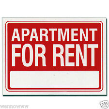 """2 Pcs 9 x 12 Inch Red & White Flexible Plastic """" Apartment For Rent """" Sign"""
