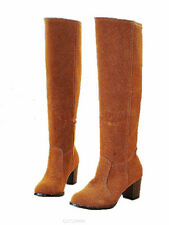 New Women's Knee High Boots Thick Med Heel Shoes Synthetic US All Size YB835