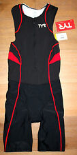 New TYR Men's COMPETITOR Front Zip TRISUIT SHORTJOHN - Black Red - USA MADE - XS