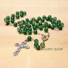 "Beautiful Green Our Lady of Guadalupe Glass Beads Rosary 23"" Length"