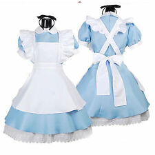Alice in Wonderland Blue White Cosplay Costume Lolita Maid Dress July Xmas M
