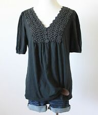 Women's Floral Crochet Knit V Neck Cinched Back Rcuhed Boho T Shirt Top Blouse M