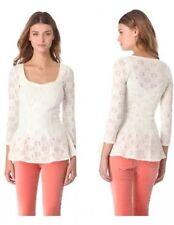 Free People Ivory Cream Lace Peplum Daisy Top, BEAUTIFUL!! Size Small