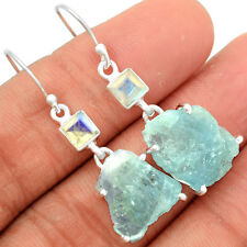 Aquamarine Rough 925 Sterling Silver Earrings Jewelry AQRE16