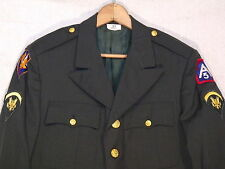 US Army VTG dark green dress coat with patches / men's 39s / nice / b41