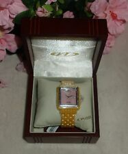 Oniss Paris crystal Accented  Hi tech yellow Ceramic pink dial Watch new