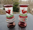 Antique Bohemian Ruby Stag Vase Pair Handpainted & Etched Black Forest