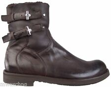 CESARE PACIOTTI SHEARLING LEATHER BOOTS US 8 ITALIAN DESIGNER MENS SHOES