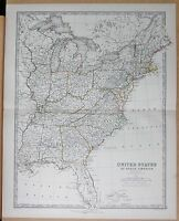 1874  LARGE ANTIQUE MAP - JOHNSTON- UNITED STATES OF NORTH AMERICA EASTERN