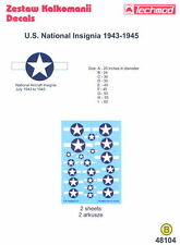 Techmod Decals 1/48 U.S. NATIONAL INSIGNIA JULY 1943 TO 1945