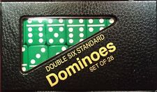 Green Standard Double Six  Dominoes w/ Black & Red Case w/ FREE Shipping