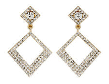 CLIP ON EARRINGS - gold plated chandelier earring with clear crystals - Anita