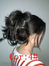 Excellent Dark Dark Brown wire braid claw clip ponytail hair pieces wig FPTLF003
