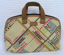 FOSSIL Canvas LEATHER Cosmetic TRAVEL Bag TOTE Purse ORGANIZER Plaid STRIPES