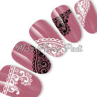 Nail Art Water Transfers Stickers Wrap Decals Black White Swirl Mehndi Lace S038