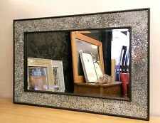 Crackle Design Wall Mirror Black Frame Mosaic Glass 90X60cm New Handmade