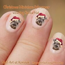 CHRISTMAS MINIATURE SCHNAUZER, Santa Hat Dog Nail Art Stickers, gift, present