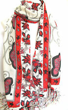 Cream with Red & Pink Floral Border Pashmina Feel Scarf Wrap Shawl