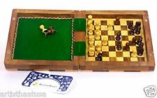 Artist Haat  Unique Handmade Wooden Mini Chess Board Game Set with Storage Box