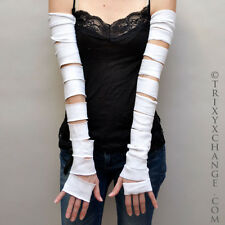 1013 White Extra Long Ripped Torn Cotton Arm Warmers Gloves Mummy Covers Sleeves