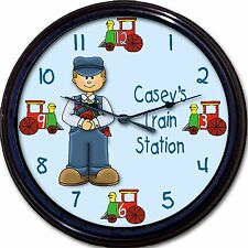 Train Station Engineer Custom Personalized Wall Clock Caboose Child Bedroom New
