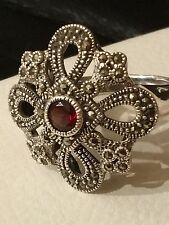 Beautiful Sterling Silver 925 Marcasite With Genuine Garnet Ring Size 9,5-10