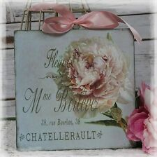 """FLEURS DE PARIS"" Vintage Shabby Country Cottage Chic style - Wall Decor Sign"