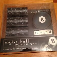 Eight Ball Poker Set 8-Ball Cards Chips Dice Game NEW - LOW PRICE -FREE SHIPPING