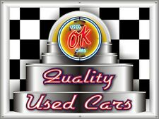 "OK QUALITY USED CARS GARAGE NEON STYLE BANNER SIGN MARQUEE CUSTOM ART 48"" X 36"""