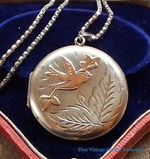 Antique Victorian Sterling Silver & Rose Gold Accent Picture Locket Bird Design