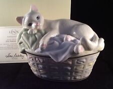 Lenox ZZZ PERFECT SPOT Cat Kitten In Basket Figurine Sculpture New In Box w/COA