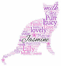 Personalised CAT Word Art Print, Birthday Gift or ANY occasion