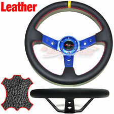 Corsica DEEP DISH Style LEATHER Drift Steering Wheel RED Trim BLACK 350mm BLUE