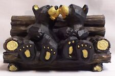 KISSING  BEARS ON  A BENCH WILDLIFE RUSTIC HOME & CABIN DECOR (EAF)