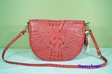 Brahmin Mini Kathleen Crocodile Embossed Leather Hobo Shoulder Bag (Tulip)