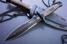 10.5'' New SOG Wood Handle Boot Dagger Survival Fixed Bowie Hunting Knife D25