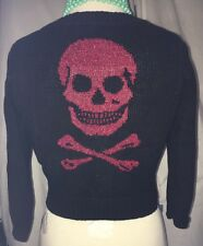 Betsey Johnson Sweater Cardigan Sz M Black Red Sparkly Skull Knit Top