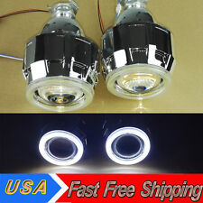 "2.5"" CarBi-Xenon Hi/Lo HID Projector Kit Conversion Lens White Angel Eye COB USA"