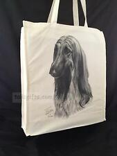Afghan Hound Reusable Cotton Shopping Bag Tote with Gusset and Long Handles