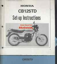Genuine Honda CB125TD-C Superdream 1982 Set-Up Manual CB 125 T TD TDC Dream Twin