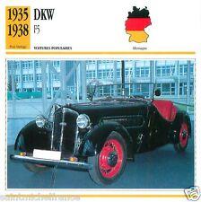 DKW F5 1935 1938 CAR VOITURE GERMANY DEUTSCHLAND ALLEMAGNE CARTE CARD FICHE