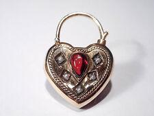 9CT GOLD GARNET & PEARL HEART PADLOCK CLASP/LOCKET
