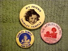 (3) SHIRLEY TEMPLE Doll, My Friend & Fan Club collectible pinbacks buttons pins