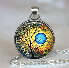 Vintage Tree of Life Cabochon Silver plated Glass Chain Pendant Necklace #D141